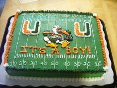 This cake was made for a couple of Miami Hurricane fans who are having a baby boy and his nursery is decorated in all Miami stuff.
