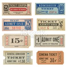 Vintage Tickets and Coupons Collection Royalty Free Stock Vector Art Illustration Journal Stickers, Scrapbook Stickers, Old Paper, Vintage Paper, Bullet Journal Vintage, Vintage Journals, Printable Tickets, Ticket Design, Vintage Grunge