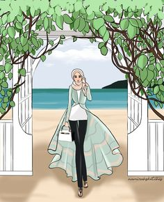 beach time! Hijab Fashion, Muslim Fashion, Islamic Cartoon, Hijab Cartoon, Cute Girl Wallpaper, Islamic Girl, Fashion Figures, Fashion Design Sketches, Illustrations
