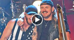 Brantley Gilbert (left) and Johnny Van Zant of Lynyrd Skynyrd laugh onstage during their <I>CMT Crossroads</I>' taping. Top Country Songs, Country Music Lyrics, Country Boys, Brantley Gilbert Lyrics, Easton Corbin, Jake Owen, Florida Georgia Line, Celebrity Travel, Celebrity News