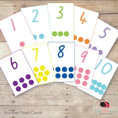 Printable numbers 1 - 20 flash cards from Busy Little Bugs