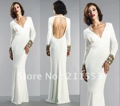 Elegant V-neck Long Sleeves Backless Crystal White Satin Floor Length Fitted Torso Evening Dresses $139.00