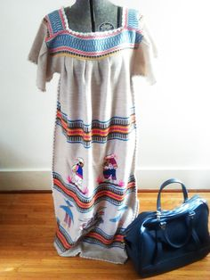 Vintage 80's Embroidered South American Festival Dress / Peruvian / Folk Dress / Bohemian Chic / Tribal/One Size Fits Most by JulesCristenVintage on Etsy