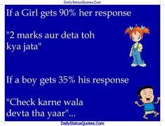 Girl and boy marks response  Daily Status Quotes