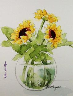 """Sunflowers in Glass Vase"" - Original Fine Art for Sale - © Roseann Hayes"