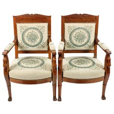 Pair of antique Empire design mahogany elbow or arm chairs. These late century antique arm chairs are available to buy now online. Dining Room Chair Cushions, Arm Chairs, Modern Armchair, Modern Chairs, Empire Design, Ergonomic Computer Chair, Wood Arm Chair, Antique Chairs, Empire Style