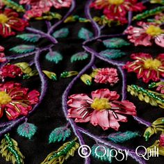 Quilt Gipsy: Gipsy Dream. Silk ribbon, embroidery and beaded quilt.