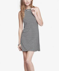 Look at this #zulilyfind! Black and White Stripe Trapeze Dress #zulilyfinds
