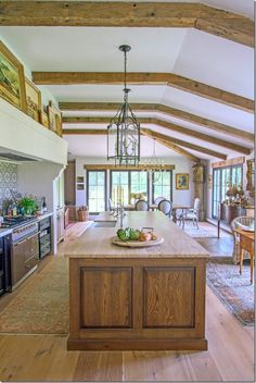 Extensive remodel from ranch style in Virginia as seen on Cote de Texas. Alternate view of kitchen looking toward dining area.