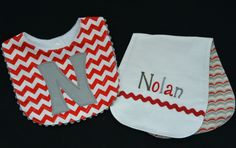 Bib and Burp Cloth Set, Red and Gray, Personalized by SewYoungAtHeart on Etsy