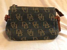 "Vintage Dooney & Bouke DB Logo Fabric Leather Cosmetic Make-up Bag 5.5x2.5x3.7"" #DooneyBourke #Vintage"