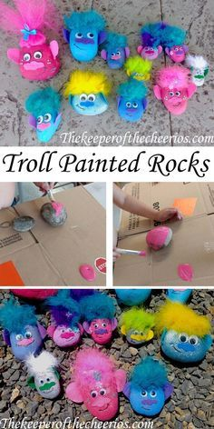 TROLL PAINTED ROCKS, trolls movie, trolls movie kids craft, trolls kids craft