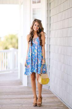 Floral lace up dress.