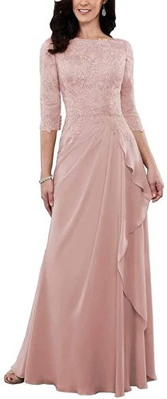 Mother Of The Bride Dresses Long, Mother Of Bride Outfits, Prom Dresses With Sleeves, Evening Wedding Guest Dresses, Mermaid Evening Dresses, Evening Gowns, Dusty Rose Gown, Bride Groom Dress, Rose Clothing