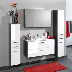 Badezimmermöbel weiß grau  Badezimmer Set mit Waschtisch und Spiegelschrank Weiß Hochglanz (2 ...