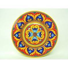 """Deruta dinnerware: Antico Geometrico 11.5"""" Dinner Plate. Mix and match with other Antico dinner plates and Italian pottery from Bonechi Imports."""