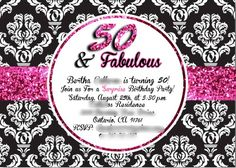 50 an fabulous birthday invite Black white and pink glitter #demask #damask pattern