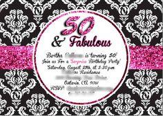 50 an fabulous birthday invite Black white and pink glitter #demask #damask pattern