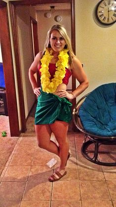 Cheapest and easiest costume I've ever done! Lilo or the dashboard hula girl.