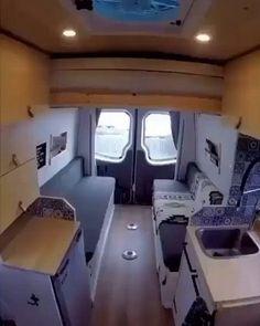 Van Conversion Interior, Camper Van Conversion Diy, Van Interior, Sprinter Van Conversion, Van Living, Tiny House Living, Living Room, Camper Beds, Car Camper