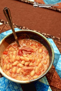 White Bean 'n' Ham Soup Recipe - White Bean 'n' Ham Soup is a winner on all three levels. It's economical quick and yummy! While canned beans make this hearty main dish a fast fix, you can save money by soaking and cooking dry beans instead. #soup #recipes