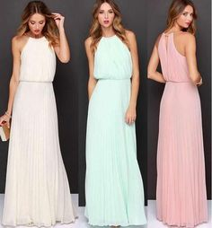 af3b8718404 Women Sleeveless Chiffon Pleated Long Dress Maxi Evening Formal Party  Wedding