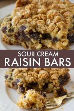 Sour Cream Raisin Bars - This easy dessert recipe is a cross between a date square and a butter tart. It has a creamy raisin filling that everyone loves! Sour Cream Desserts, Köstliche Desserts, Delicious Desserts, Dessert Recipes, Yummy Food, Bar Recipes, Keto Recipes, Make Sour Cream, Pastries
