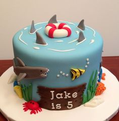 Ocean/shark themed cake. Inspired by several cakes on Pinterest. All fondant.