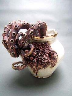 Bottom Feeders: Ceramic Objects Encrusted with Marine Life by Mary OMalley  sculpture ocean nature ceramics #bestdesignprojects #art&stylebestdesignprojects