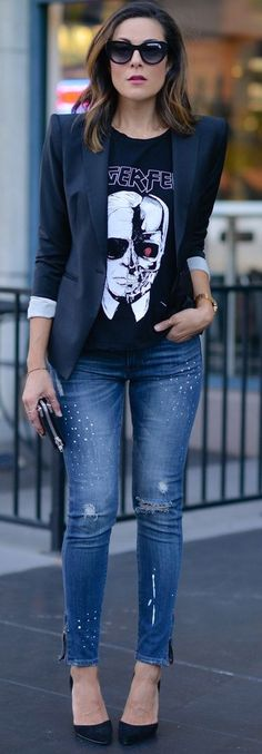 Lucy's Whyms Graphic Tee On Embellished Ripped Jeans Fall Street Style women fashion outfit clothing stylish apparel @roressclothes closet ideas