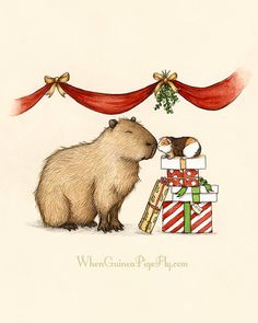 Capy Holidays - Capybara and guinea pig under the Mistletoe