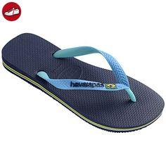 Damen Brazil Logo Brasil Strand Sommer Urlaub Sandalen Schuhe Flip Flop - Marine Blau - 38 Kv2GpczaD