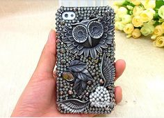 iPhone owl case iPhone 4/4s case iphone 5 cases iphone back cover accessory hard case iphone bling cover case handmade. $28.00, via Etsy.
