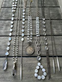 Moonstone, quartz, pearls and silver necklaces. Email lisajilljewelry@gmail.com for wholesale and retail purchases.