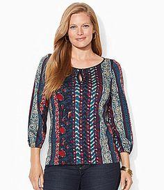 Lauren Ralph Lauren Woman Patchwork Paisley Top #Dillards Only Lauren can make patriotic classy looking!