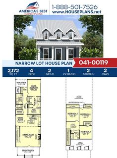 Get to know a Narrow Lot house Plan that features 2,172 sq. ft., 4 bedrooms, 2.5 bathrooms, a carport garage, a loft and a covered porch. Checkout our website for more details about Plan 041-00119. Narrow Lot House Plans, Carport Garage, Open Staircase, Common Room, Garden Tub, Large Bedroom, City Living, Walk In Pantry, Window Wall