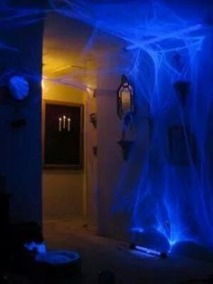 black light glowing on spider web