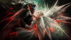 Angel And Demon Mask Couple Wings Orginal Hd Wallpaper