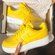 Bright yellow Nike Air Force ones Sock Shoes, Women's Shoes, Nike Shoes, Shoe Boots, Shoes Sneakers, Shoes Trainers Nike, Sneakers Fashion, Fashion Shoes, Stilettos