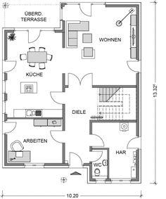 stadtvilla grundriss erdgeschoss mit 96 12 m wohnfl che rund ums haus pinterest arrow. Black Bedroom Furniture Sets. Home Design Ideas