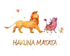 Hakuna Matata The Lion King Watercolor Poster Lion King by sPRINNT