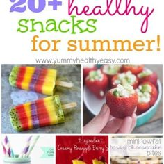 20 Healthy Snacks for Summer! A great collection of guiltless treats you can enjoy all summer long! Summer Snacks, Lunch Snacks, Healthy Summer, Snack Recipes, Cooking Recipes, Healthy Treats, Healthy Food, Healthy Eating, Love Food