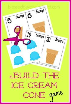 FREE Build the ice cream cone math game. Your child will learn counting and number recognition with this FUN freebie. Math Games, Maths, Lego Math, Counting Games, Number Activities, Space Activities, Toddler Activities, Free Preschool, Preschool Ideas