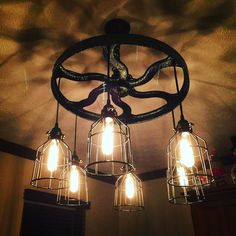 "23"" Antique Pulley 6 Light Custom Made Chandelier by CustomVintageLights on Etsy"