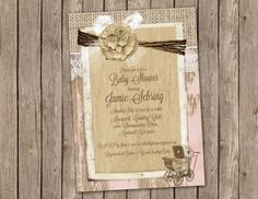 Pink Baby Girl Shower Invitation With Burlap, Shabby Wood And A Vintage  Stroller   Printable 5x7