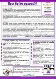 This is a reading comprehension and writing activity about being ourselves. There are different types of exercises to verify students' reading skills: reading. Teaching English Grammar, Grammar Lessons, English Vocabulary, Reading Comprehension Activities, Reading Worksheets, Printable Worksheets, Reading Skills, Teaching Reading, Reading Test