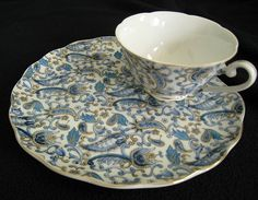 Lefton Blue Paisley Snack Set