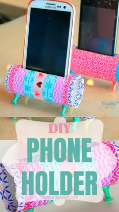Check out this easy peasy DIY Phone Holder! A fun and easy way to reuse and recycle those toilet paper rolls, this DIY Phone Stand is both cute and practical! home diy crafts DIY PHONE HOLDER Diy Crafts For Girls, Fun Diy Crafts, Diy Crafts Videos, Diy Videos, Creative Crafts, Videos Video, Diy Paper Crafts, Teen Girl Crafts, Diy Arts And Crafts