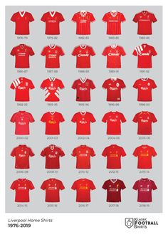 Size - x Notes - Superb quality poster detailing the history of Liverpool shirts from including famous designs by Umbro, Adidas, Reebok, Warrior and New Balance. A must for any fan! Liverpool Fc Badge, Liverpool Fc Champions League, Liverpool Memes, Liverpool Poster, Anfield Liverpool, Liverpool Fc Wallpaper, Liverpool Wallpapers, Liverpool Players, Champs
