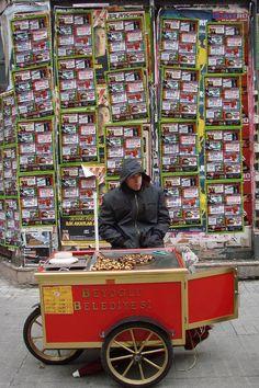 Chestnuts - Beyoglu, Istanbul Turkish Delight, Middle Eastern Recipes, Turkish Recipes, Istanbul Turkey, Eastern Europe, Street Food, My Images, Letters, Model